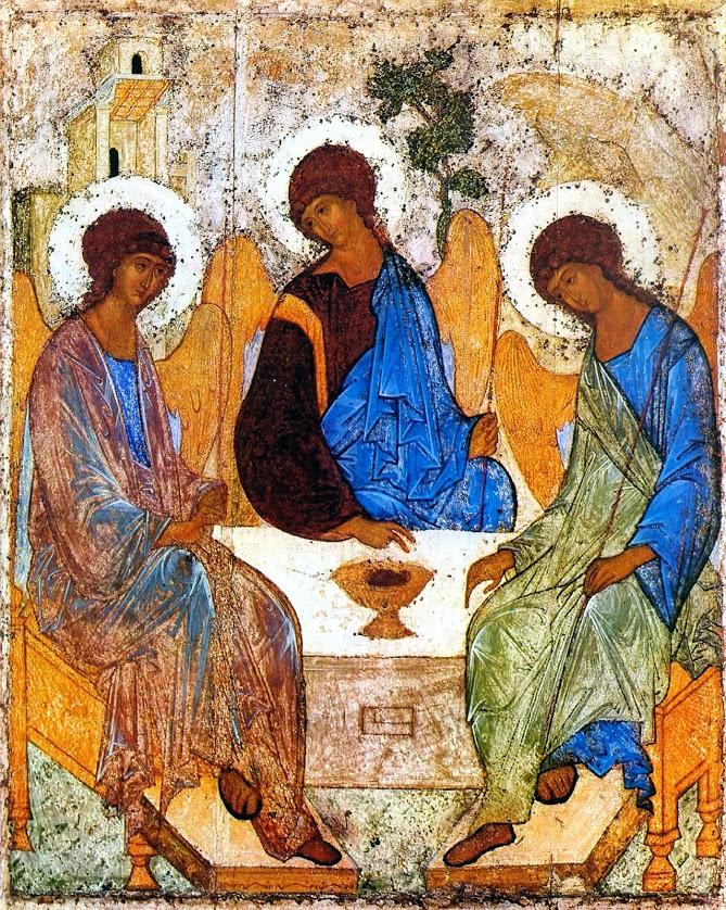 Явлении трех ангелов под кистью Андрея Рублева стало образом Троицы выражающим основной догмат Христианства..jpg